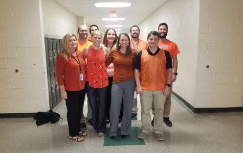 Teachers in F House wear orange in support of Unity Day.