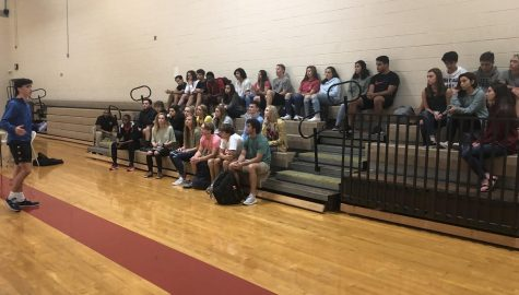 Ethan Hillman addresses Fellowship of Christians Athletes members; they meet Tuesdays during lunch.